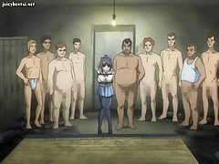 nine horny hentai men gang up on a chick that is  tied up